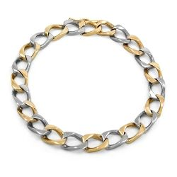 9ct Gold Two Tone Solid Bracelet