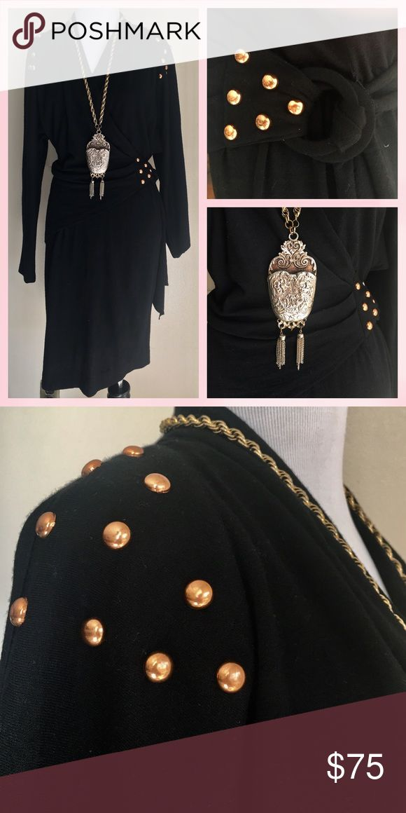 New Listing Vintage Lilly Ruben Studded Wrap Dress Vintage Lilly Ruben Black wool Wrap dress with copper Studded details. Waist ring wrap with adjustable sash. Surplus neckline. A quality timeless little back dress that is appropriate for many different occasions. (Necklace not included) Measurements available upon request. Bundle & Save $ Lilly Ruben Dresses