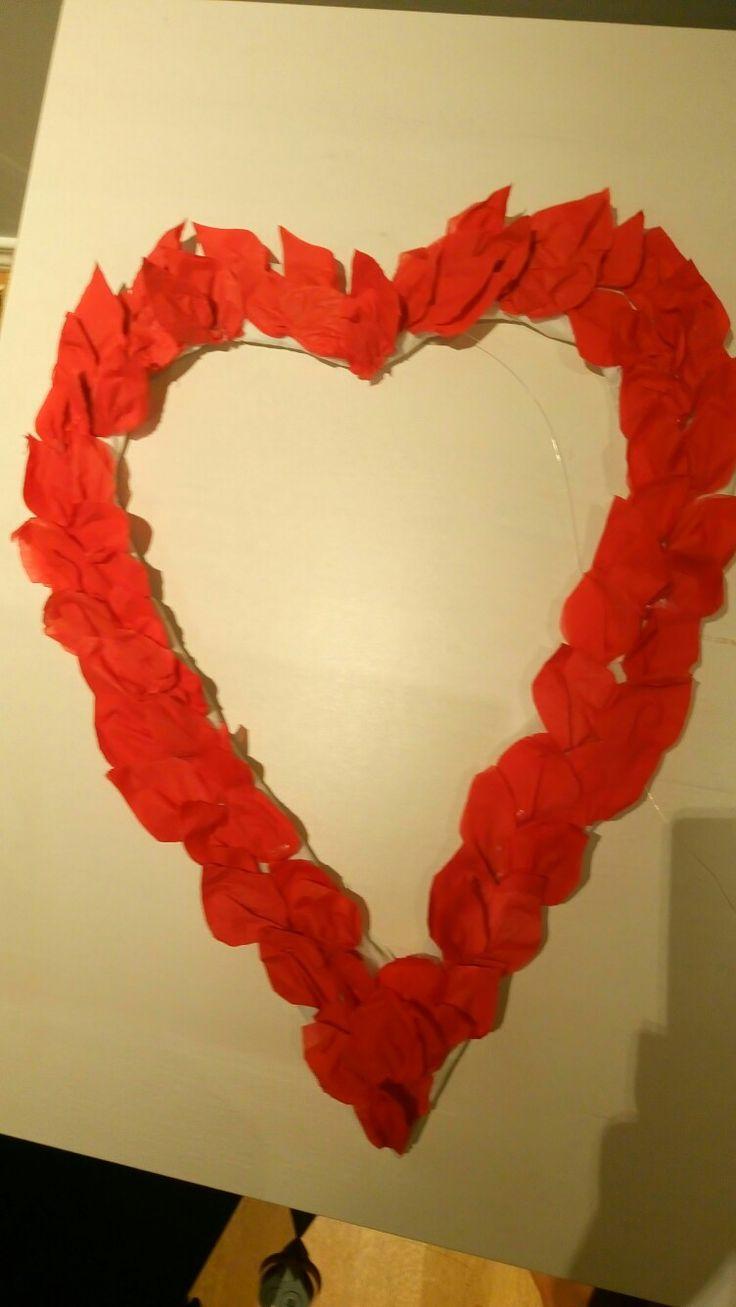 Red servillet idea. Red servillet /Rose petals. Red heart carton.cut heart shape/romantic decor idea