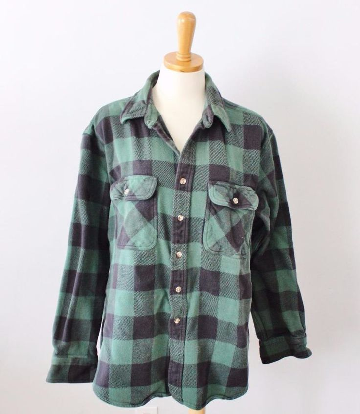 Vtg 80s five brother green black check buffalo plaid men for Green and black plaid flannel shirt