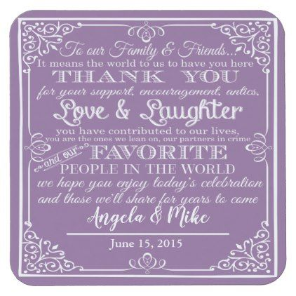 personalised Favor wedding coaster Thank you color - vintage wedding gifts ideas personalize diy unique style
