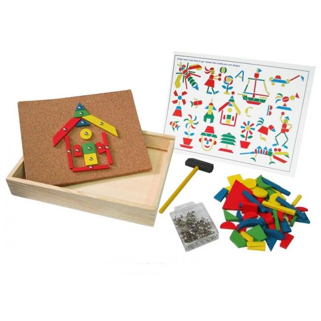 With this colourful Tap Tap Set, the options are endless! Create fun pictures using the geometric wooden shapes and tacks with your little wooden hammer; it comes with a handy storage box to pack everything away neatly! #entropytoys #woodentoys #learning #taptapfun