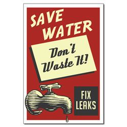 AI-wp433 - Don't Waste Water - Water Conservation Poster, Water quality poster, water conservation placard, water conservation sign, water quality sign, water conservation awareness