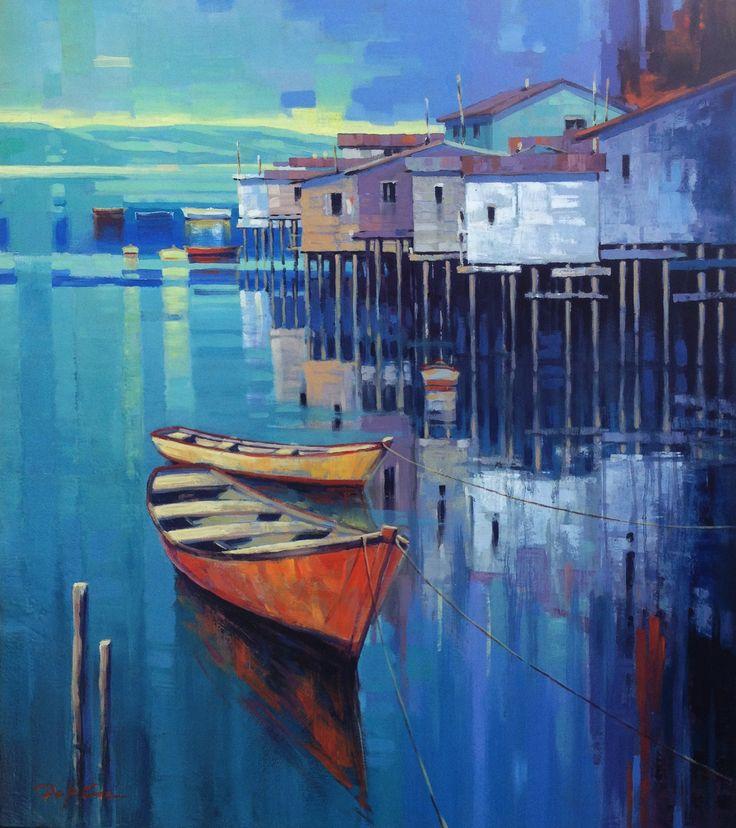 Palafitos y botes. Óleo sobre panel 60 x 70. Edgardo Contreras de la Cruz