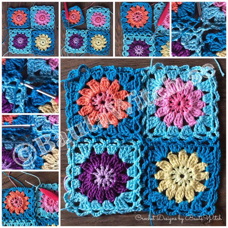 Det här rutorna kommer jag att använda till min blomsterängspläd som jag skrev om i mitt förra blogginlägg. Den är inte färdig ännu. Jag har en hel del rutor kvar att virka. Även denna pläd virkas …