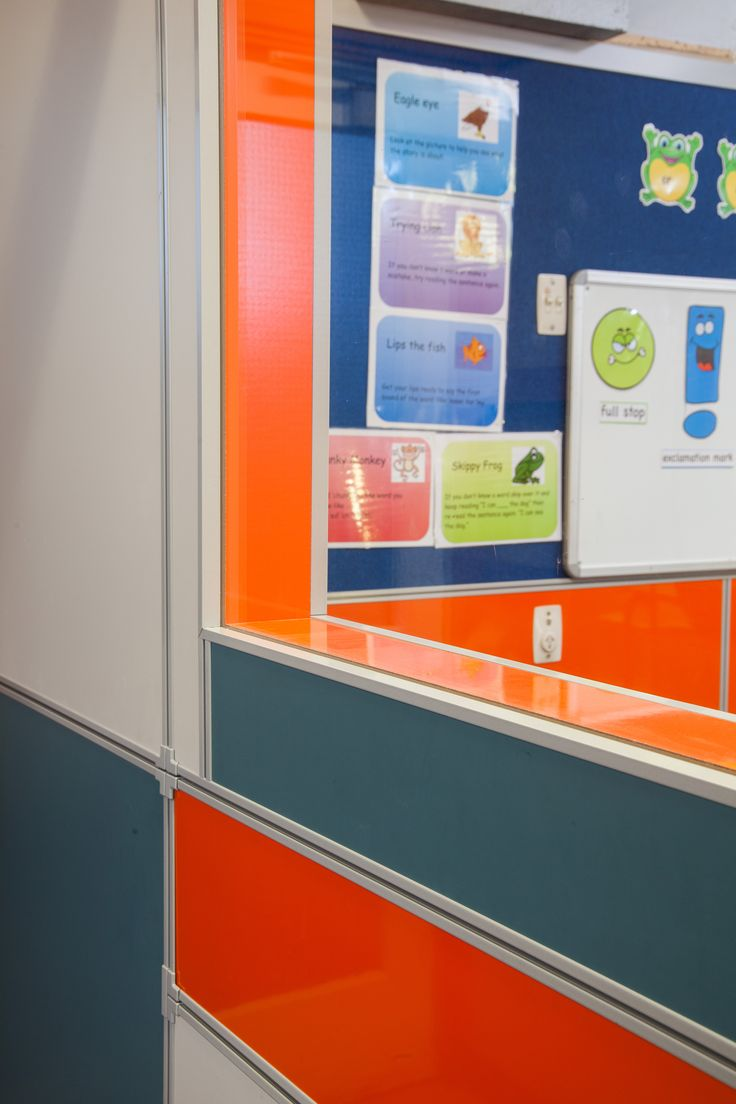 Waimairi School featuring Formica AR+ Solid Colours Clementine and Formica Glossy White Magnetic Whiteboard