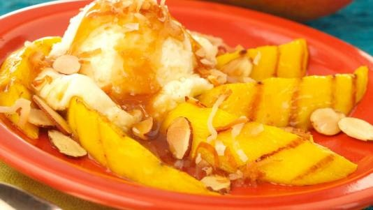 Grilled Mango with Spicy Rum Glaze and Vanilla Ice Cream | Recipe