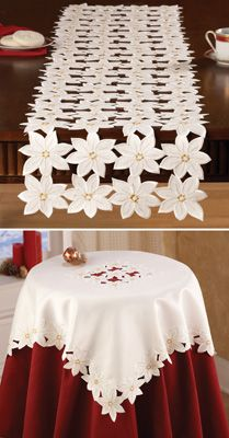 Ivory & Gold Poinsettia Holiday Table Linens