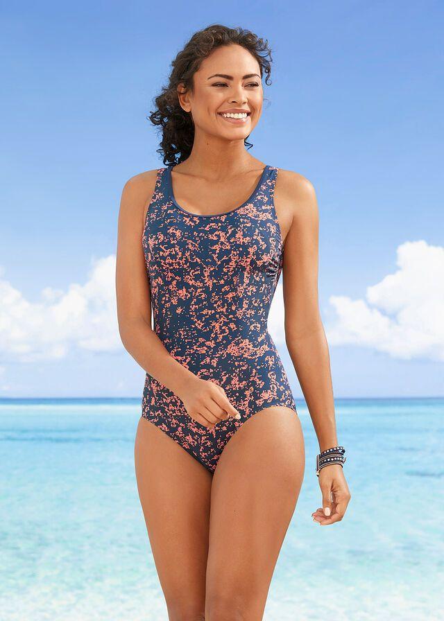 Kostium Kapielowy Z Szybko Schnacego Materialu Ciemnoniebiesko Lososiowy Pomaranczowy Z Nadrukiem 99 99 Zl Bonprix Fashion One Piece Swimwear