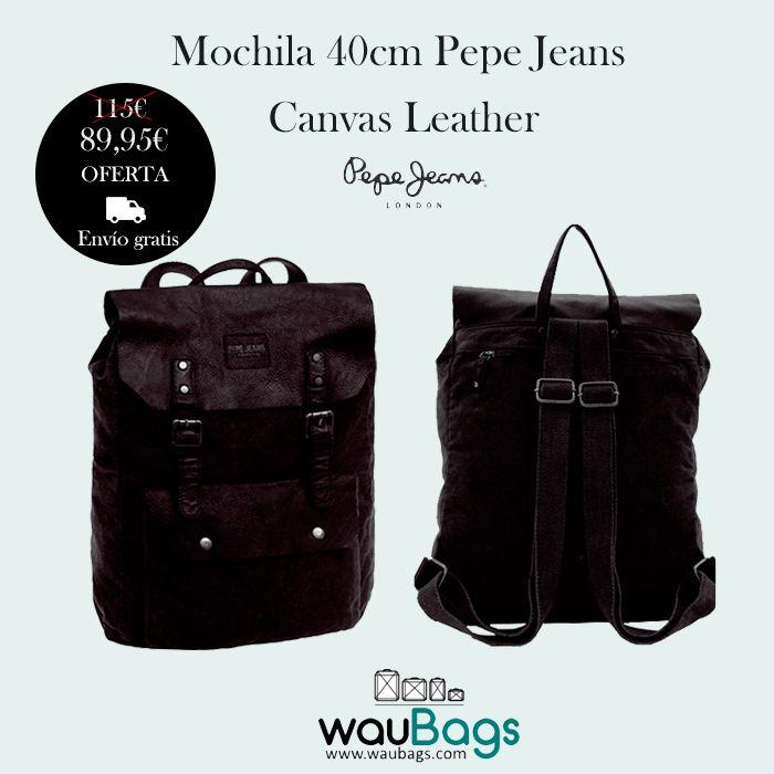 Mochila 40cm Pepe Jeans Canvas Leather     La Mochila de 40cm Pepe Jeans Canvas Leather tiene un compartimento principal con solapa y 2 cierres de hebilla y un bolsillo delantero.  Cuenta con dos correas ajustables y un asa de mano en la parte superior.   #MochilaPepeJeans #WauBags