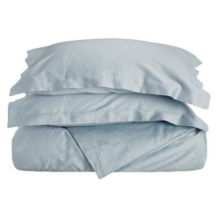 Superior 400 Thread Count Long-Staple Combed Cotton Duvet Cover Set, Solid, Blue