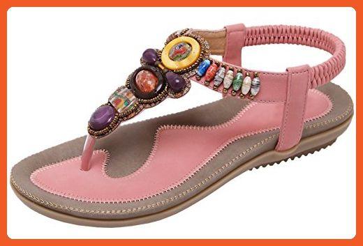Sandales pour Femmes Soft Base Fashion Beads Tongs, 39, Bleu