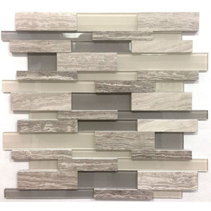 Avenzo 12 In X 12 In 3d Wooden Light Grey Stone And Glass Linear Mosaic Wall Tilesmosaic Backsplashbacksplash Ideaskitchen