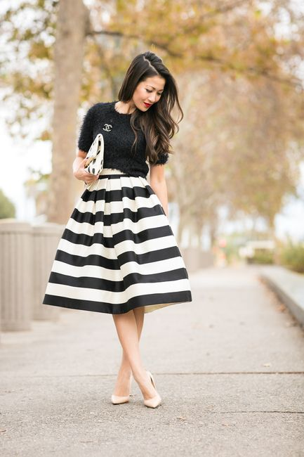 Mix Patterns :: Striped skirt & Polka dots clutch Outfit Top :: ASOS Bottom :: Tibi Shoes :: Gianvito Rossi Bag :: Clare V. Accessories :: Stila 'Beso' lip color, Casio watch, Brandy Pham bracelets, BaubleBar earrings, Chanel pin Published: December 3, 2014
