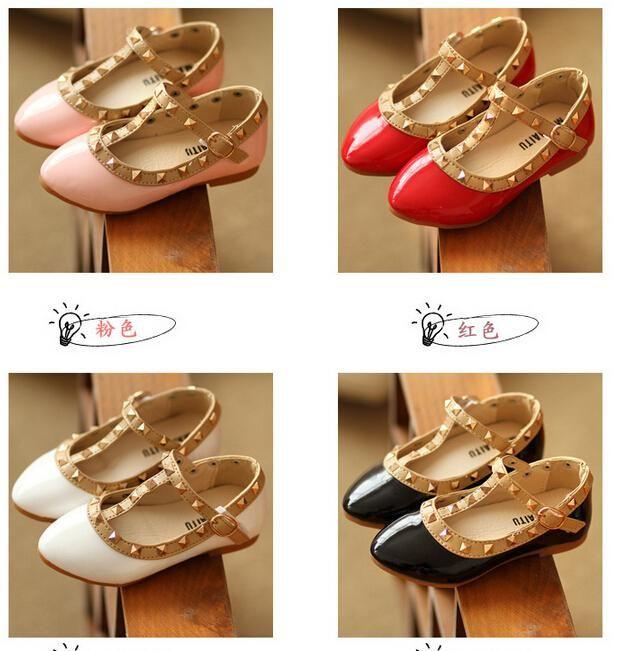 Wholesale-Trendy Girl Sandals Girls Fashion PU Valen Shoes Children Rivets Flats Hot Sale Korean Style =/l Online with $8.02/Piece on Choicegoods521's Store   DHgate.com