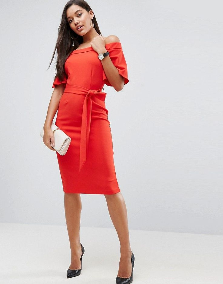 ASOS Midi Dress with Off Shoulder and Self Tie - Red