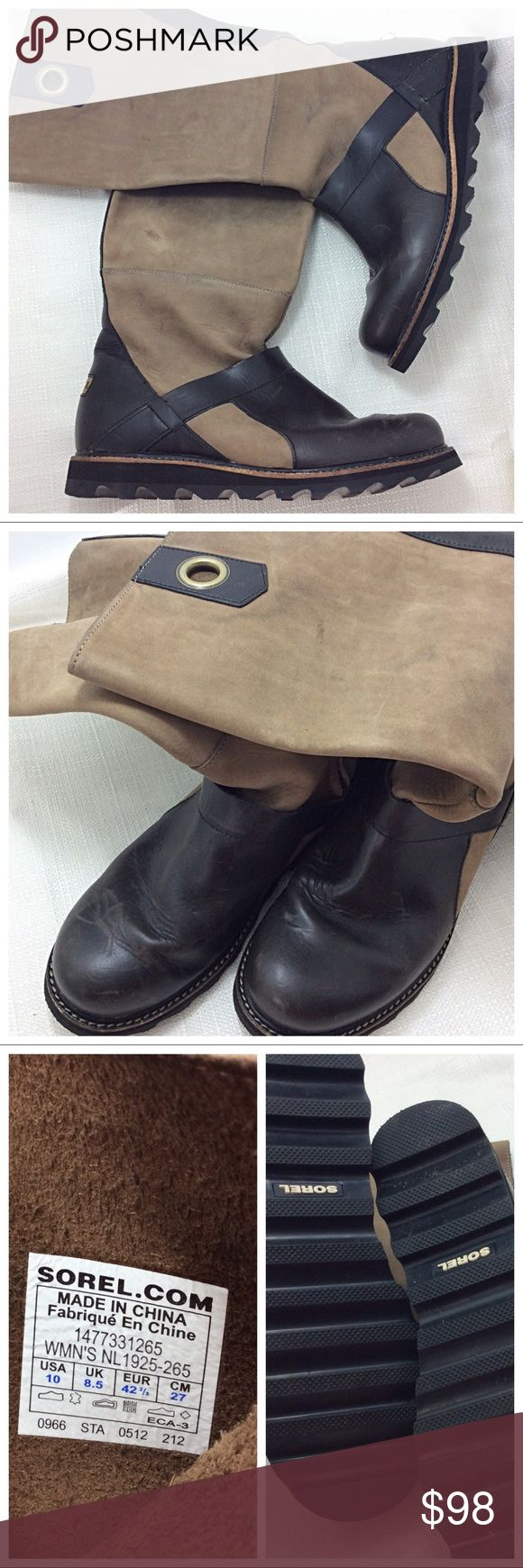 Sorel Riding Boots Heavyweight riding boots in two-tone brown suede/leather. Durable winter sole. Previously loved, wear marks as pictured. In otherwise excellent condition. Sorel Shoes Winter & Rain Boots