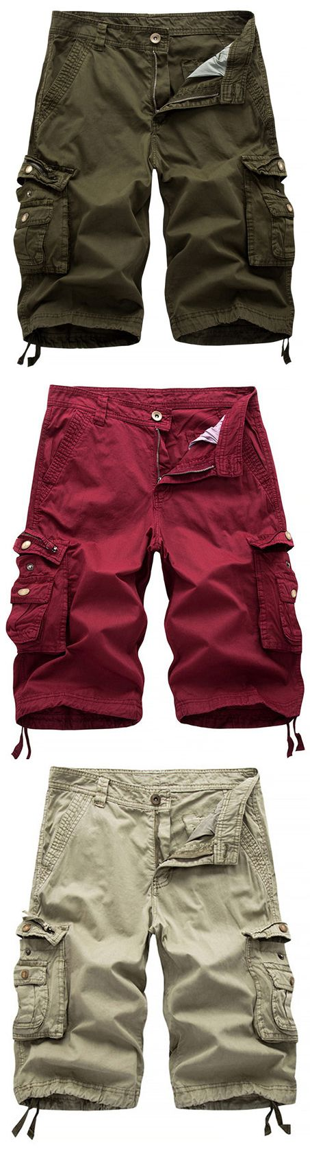 Mens Summer Multi-pocket Solid Color Cargo Pants Casual Cotton Beach Shorts