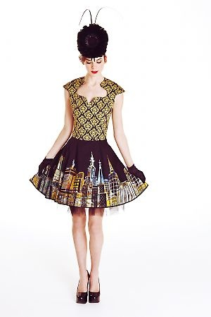Royal Ascot Dress in Dark City Scape Print