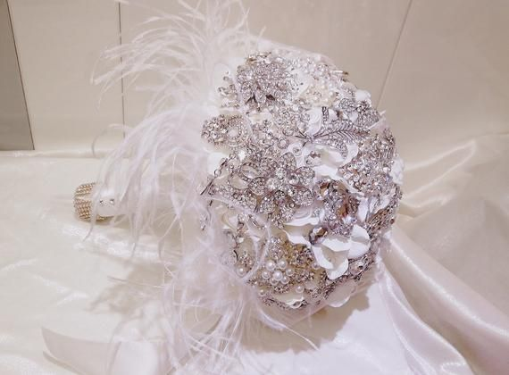 Ostrich Feather Brooch Bouquet Custom Bride White Feather Jewelry