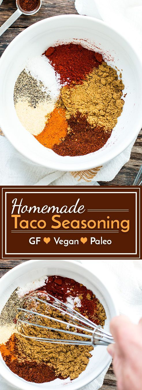 This easy homemade taco seasoning is made up of only seven ingredients that you probably already have on hand! You can use this homemade taco seasoning mix for ground beef, ground turkey or even ground tofu! It is gluten free, dairy free, vegan, and Paleo.