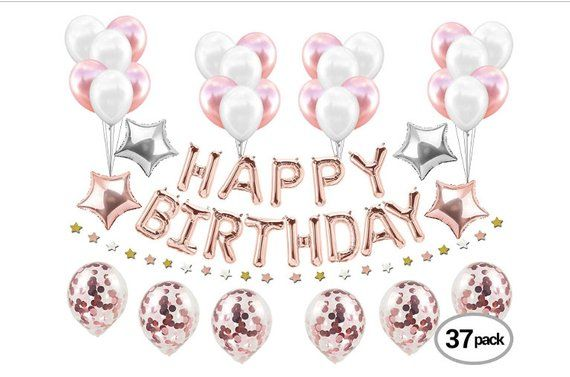 Rose Gold Birthday Party Supplies Decorations Foil Balloons Happy Confetti