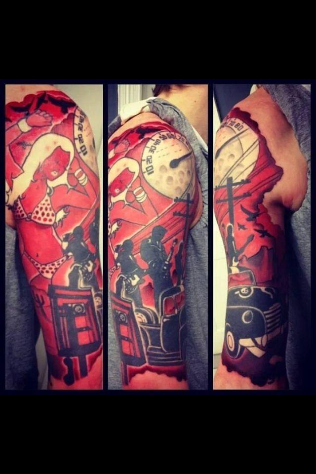 go with the flow - qotsa tattoo sleeve by: angus wall - AWOL Tattoos, Dublin