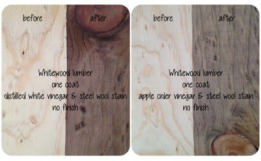 distilled white vinegar and steel wool for brownish stain. apple cider vinegar and steel wool for grayish stain