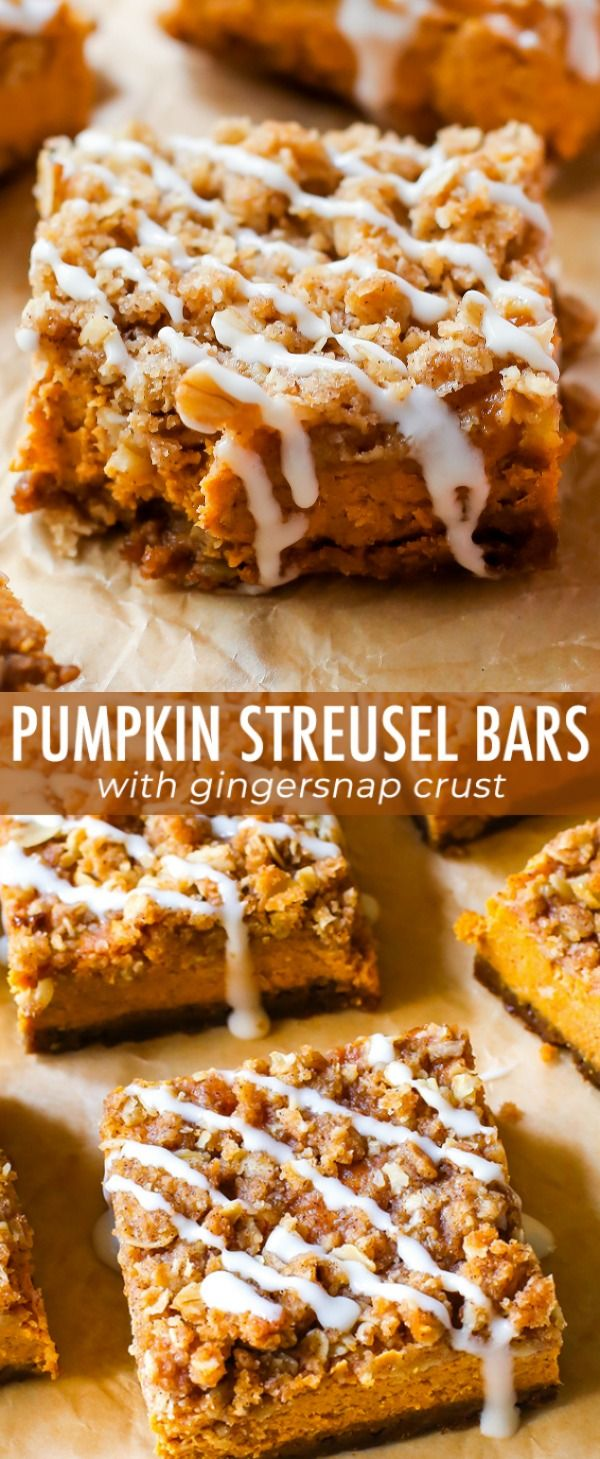 Instead of pumpkin pie this season, try my pumpkin streusel bars. With a gingers…