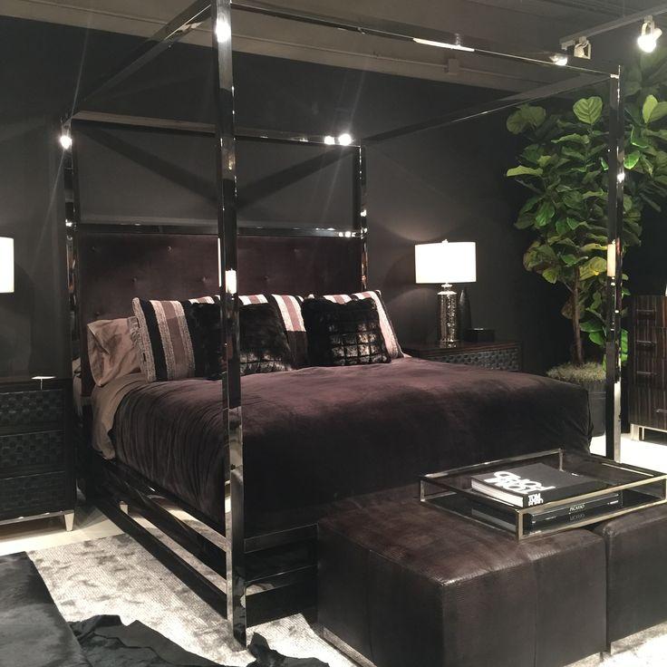 Bernhardt chrome metal canopy bed