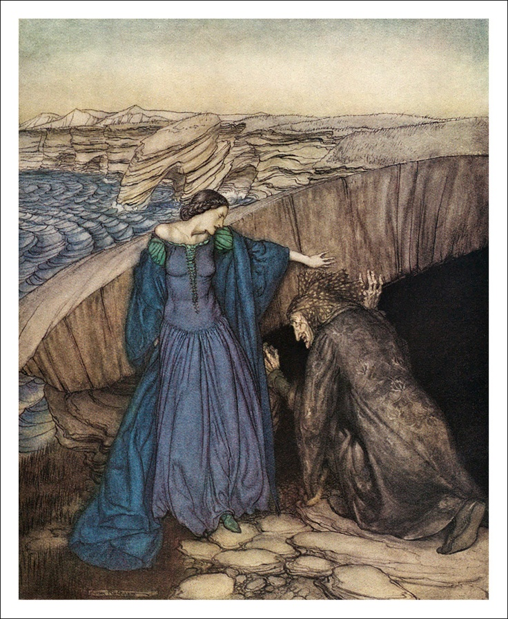 Merlin and Nimue. How by her subtle working she made Merlin to go under the stone to let her wit of the marvels there : and she wrought so there for him that he came never out for all the craft he could do - The Romance of King Arthur and His Knights of the Round Table, 1917