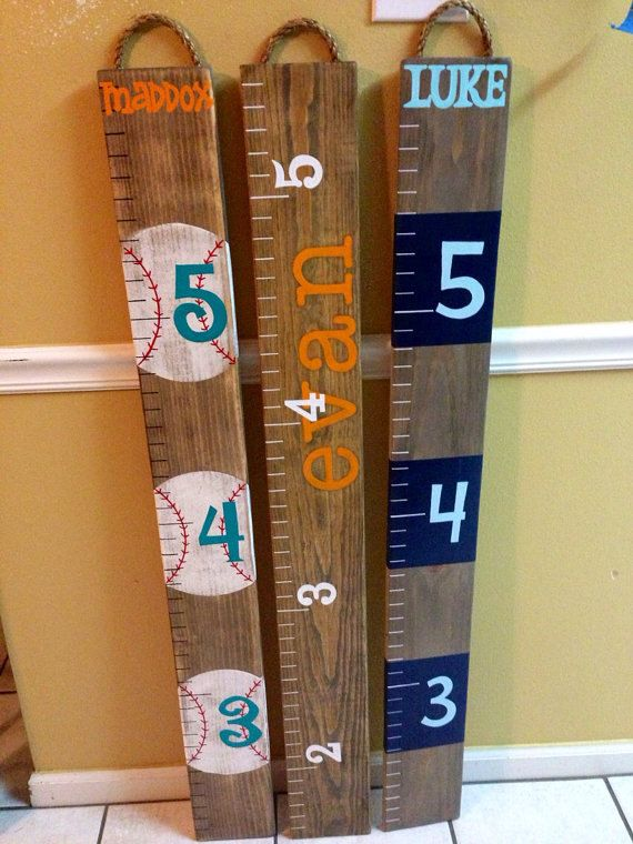 CUSTOM Painted Ruler Growth Chart / Wood Growth Chart by RouxBeeLu