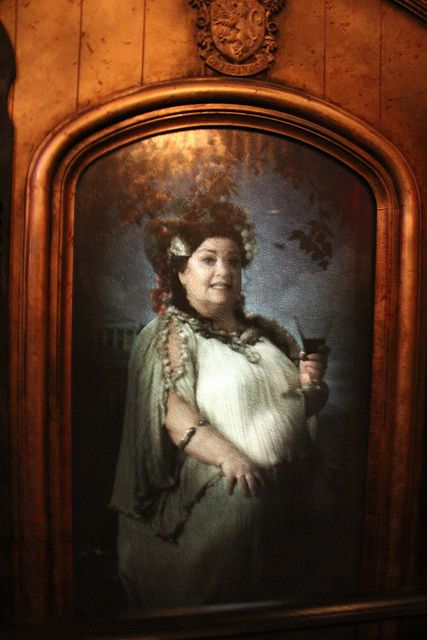 The Fat Lady is a portrait who guards the entrance to Gryffindor Tower at Hogwarts Castle.