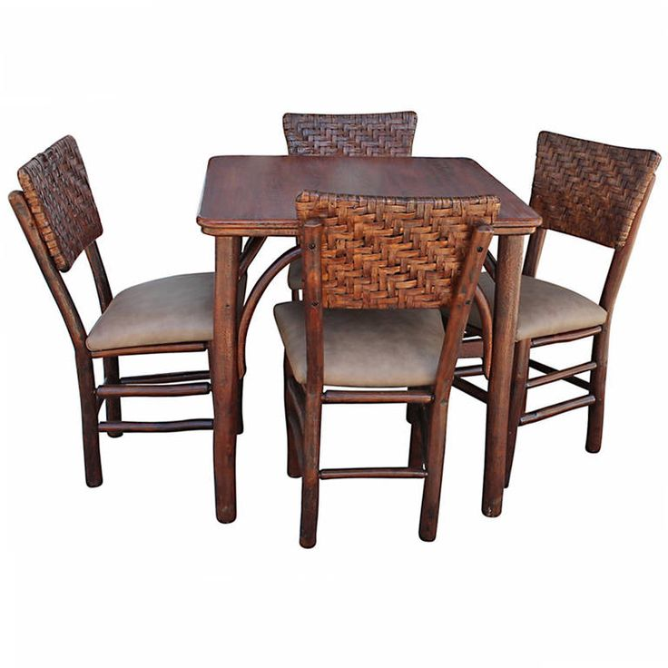 Rare Signed Old Hickory Gaming Table & Matching Chairs ...