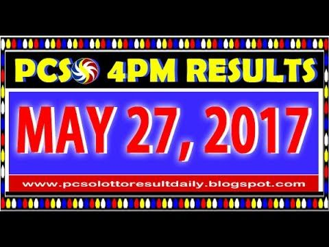 PCSO MidDay - 4PM Results May 27, 2017 (SWERTRES & EZ2)