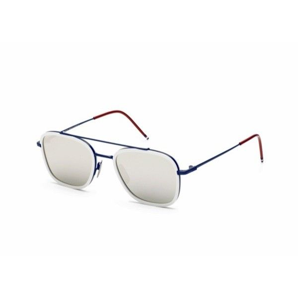 Matte Navy & Yellow Gold Aviator Optical Glasses - Blue Thom Browne jlhf5BwM