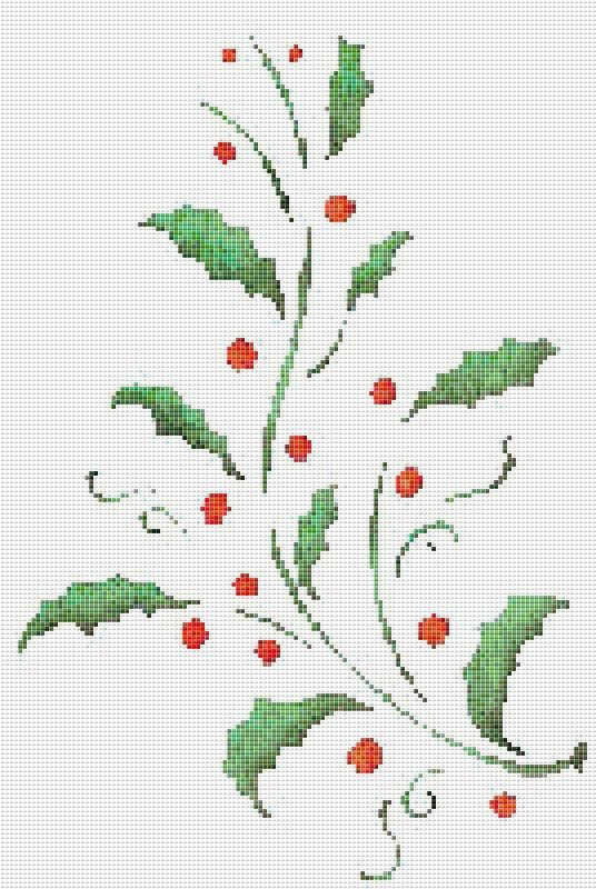 Holly, Berry, Red Berries, Banner, Counted Cross Stitch Pattern, Xstitch Pattern