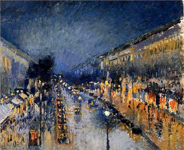 Камиль Писсарро. «Бульвар Монмартр. Ночь». 1897 г.