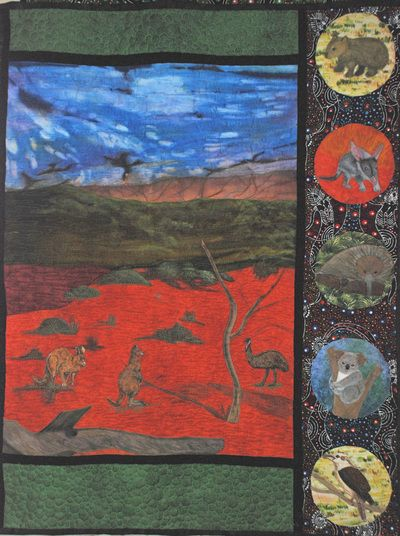 Art quilted wall hanging, Aussie animals of the outback