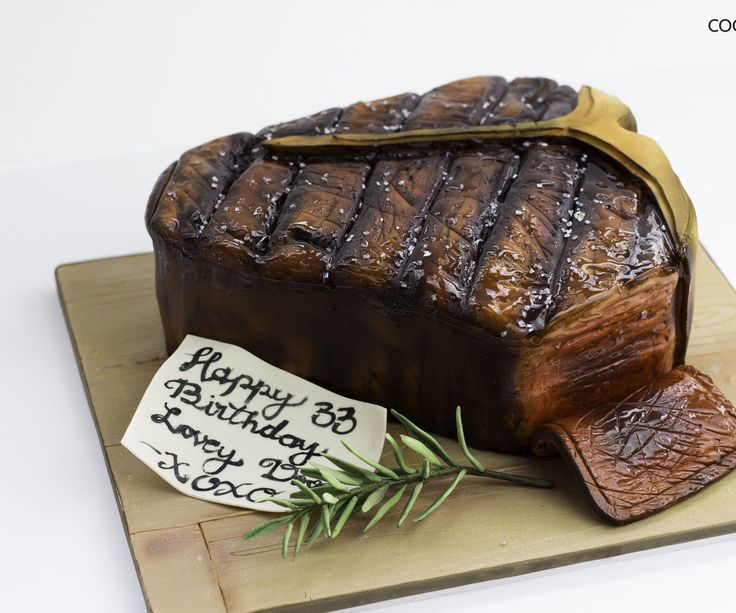"Learn how to create a cool realistic looking Porterhouse steak cake! a perfect dessert for meat lovers...I made the cake originally to my half-Argentinian hubby who l-o-v-e-s porter house steak! that's his favorite meat. I have added a template that will help you recreate that same cake.All you need is two 9""X9"" square cakes of your preferable flavor (we're chocolate lovers), filling (I used vanilla buttercream with Oreo cookies...Yummy!) chocolate ganache, fondant, and food colorin..."