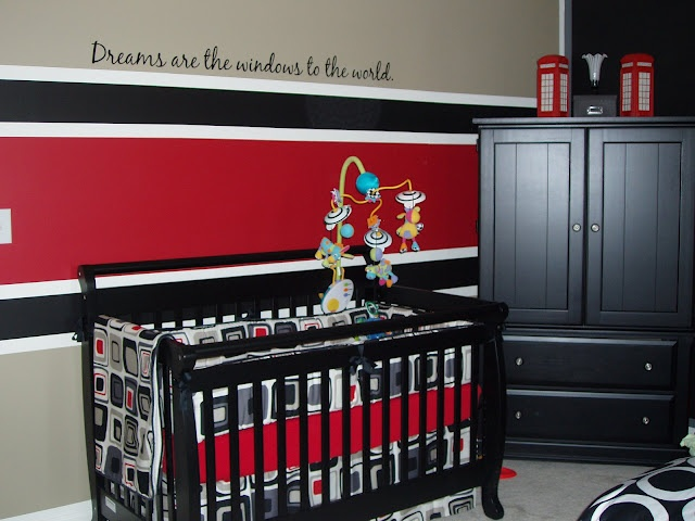Black, white and red baby nursery