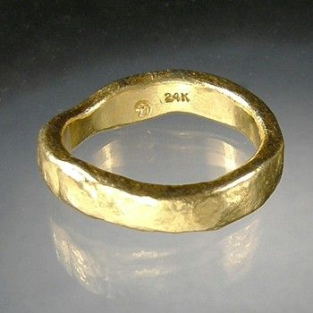 Jana Brevick - Gold Ring   Hand forged gold ring. 7.0dwt gold. Approx. 4mm wide.