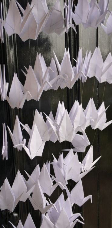 We're getting our cranes (not our ducks) in a row… Custom order for a feature wall at a wedding!  Luxury handmade wedding decorations by Paper Street Dolls Check out our store - paperstreetdolls.etsy.com