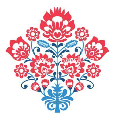 Polish folk art pattern with flowers - wycinanka vector by RedKoala on VectorStock®