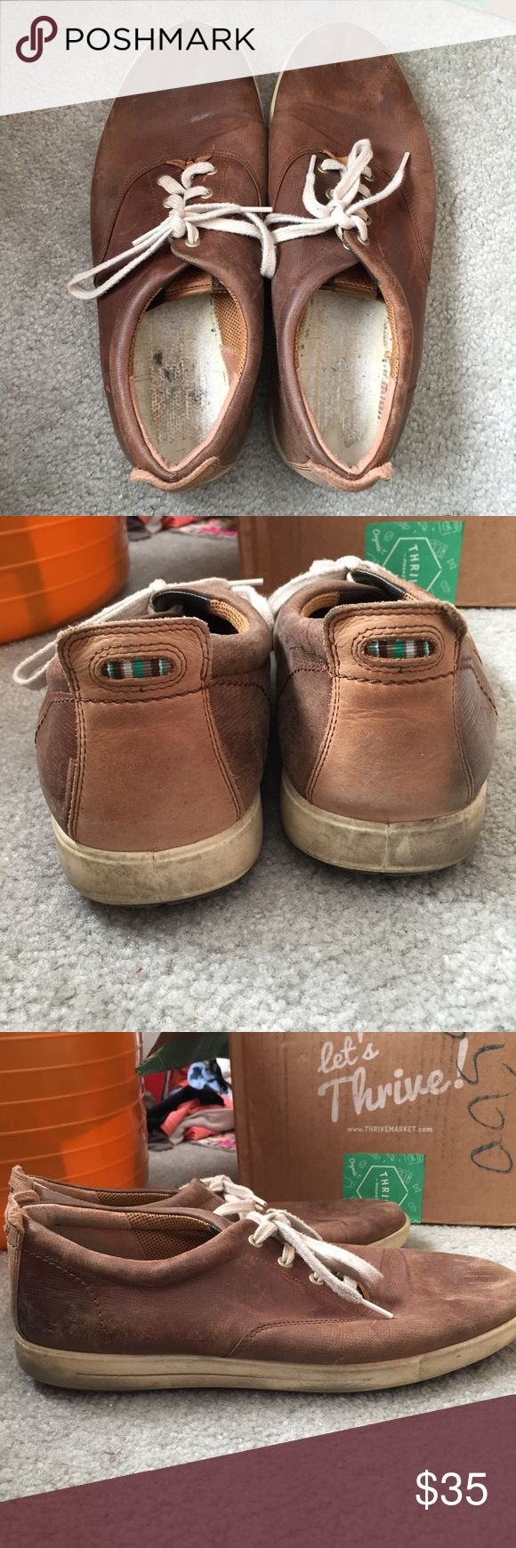 Ecco brown leather sneakers Sole has been taken out but can easily be replaced. In grey condition with lots of life left! Ecco Shoes Sneakers