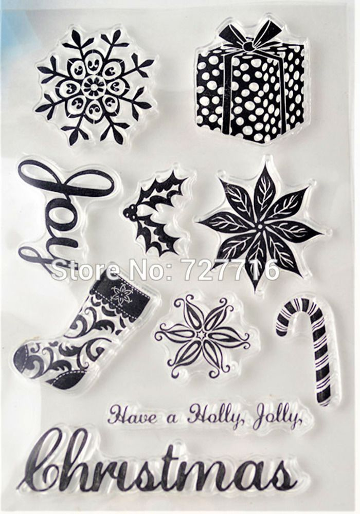 Clear cling stamps for Card making stamping HOLLY JOLLY CHRISTMAS ...