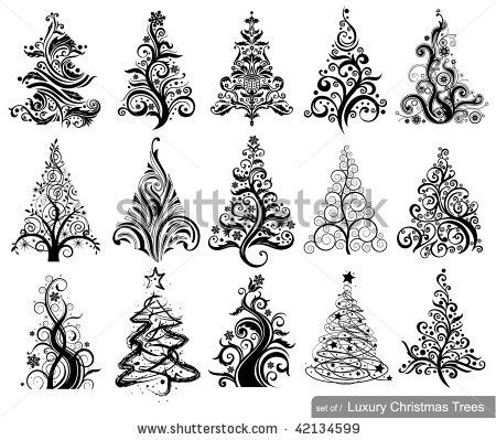stock vector : Set of Luxury Christmas Trees. 15 designs in one file. To see similar sets visit my gallery