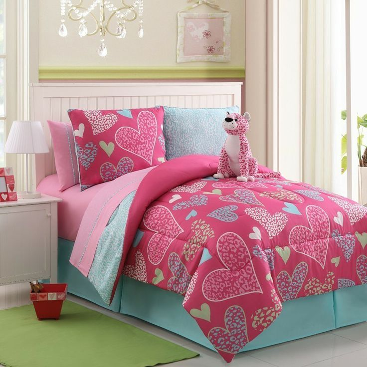 With Love Home Decor   Girls Kids Bedding   Reversible Pink Leopard Bed In  A Bag