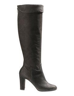 Damen Lederstiefel mit hohem Absatz, Profilsohle und Steppung. #madeleinefashion