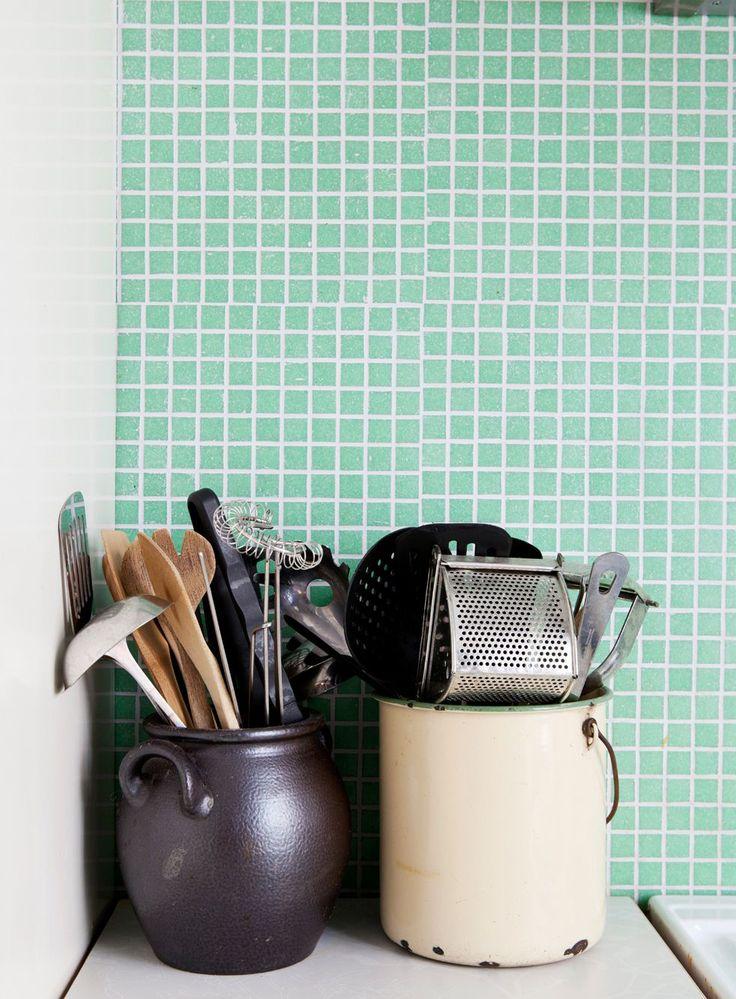 Mint green kitchen tiles - via Coco Lapine Design